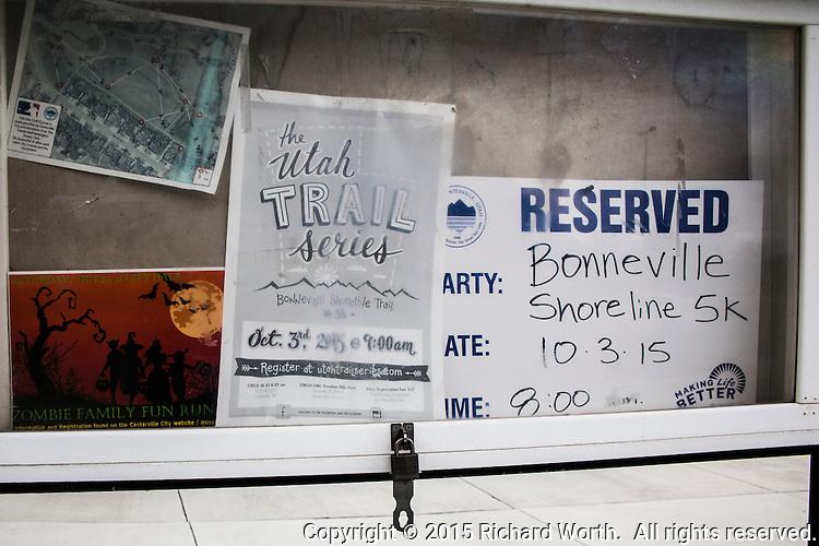 Park sign announcing the pending race, the Bonneville Shoreline 5K.