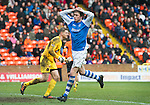 Dundee Utd v St Johnstone..26.12.12      SPL.Murray Davidson holds his head after missing a sitter.Picture by Graeme Hart..Copyright Perthshire Picture Agency.Tel: 01738 623350  Mobile: 07990 594431