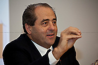Antonio Di Pietro, Italian politician - 2011 <br /> <br /> London, 11/12/2011. Antonio Di Pietro, leader of the Italian political Party IDV (Italia Dei Valori) and former Mani Pulite judge, and the European MP Niccol&oacute; Rinaldi meet the Italians of London at the UCL (University College London) to talk about the Italian people that have decided to leave the Peninsula to build their future elsewhere, in locations where they perceive to exist more chances and opportunities.