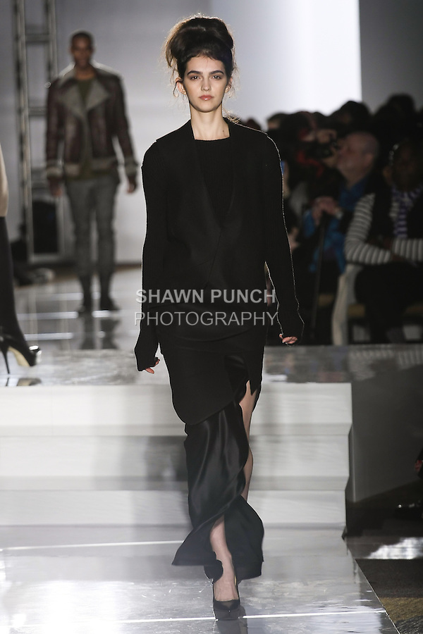 Model walks runway in an outfit by Brian Suter-Maury, for the Parsons 2011 BFA Fashion Show, hosted by Reed Krakoff.