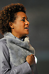 Canada's Governor General, Michaëlle Jean sings the Canadian national anthem along with the crowd on hand during the singing at the opening ceremonies of the 2010 Paralympic games in Vancouver.