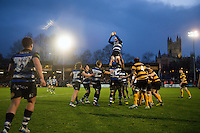Dave Attwood of Bath United wins the ball at a lineout. Aviva A-League match, between Bath United and Wasps A on December 28, 2016 at the Recreation Ground in Bath, England. Photo by: Patrick Khachfe / Onside Images