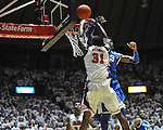 Ole Miss' Murphy Holloway (31) has his shot blocked by Kentucky's Nerlens Noel (3) at the C.M. &quot;Tad&quot; Smith Coliseum on Tuesday, January 29, 2013. Kentucky won 87-74. Kentucky's Nerlens Noel (3) had 12 blocked shots in the game. (AP Photo/Oxford Eagle, Bruce Newman)..