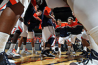 Dec. 07, 2010; Charlottesville, VA, USA;  The Virginia Cavaliers huddle before the game against the Radford Highlanders at the John Paul Jones Arena. Mandatory Credit: Andrew Shurtleff