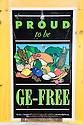 Sign reading 'Proud to be GE-Free'. Ecology Center's Berkeley Farmers' Market prides itself on being a 'Zero Waste Zone' and prohibiting genetically modified foods. Berkeley, California, USA
