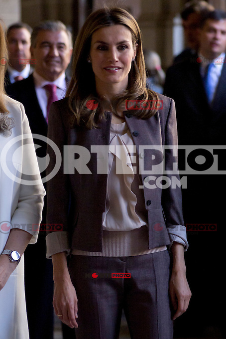 11.09.2012. Princess Letizia of Spain visits, accompanied by the Minister of employment Fatima Ba&ntilde;ez, the exhibition commemorating the 25th anniversary of Workshop Schools and Employment Workshops at the Board of Directors of National Heritage at the Royal Monastery of San Lorenzo de El Escorial, Madrid. In the image Princess Letizia  (Alterphotos/Marta Gonzalez) /NortePhoto.com<br />