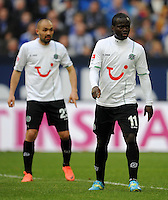 FUSSBALL   1. BUNDESLIGA   SAISON 2011/2012   29. SPIELTAG FC Schalke 04 - Hannover 96                                08.04.2012 Sofian Chahed und Didier Ya Konan (v.l, beide Hannover 96)