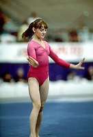 Iveta Polokova of Czechosovakia performs on floor exercise at 1985 World Championships in women's artistic gymnastics at Montreal, Canada in mid November, 1985.  Photo by Tom Theobald.