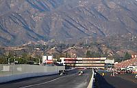 Nov 13, 2016; Pomona, CA, USA; NHRA top fuel driver Doug Kalitta (left) defeats teammate J.R. Todd to win the Auto Club Finals at Auto Club Raceway at Pomona. Mandatory Credit: Mark J. Rebilas-USA TODAY Sports