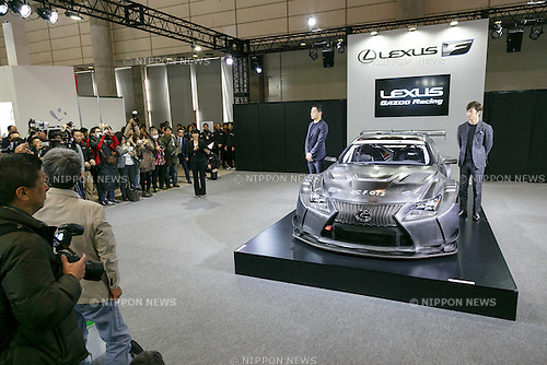 (L to R) Racing drivers Akira Iida and Yuji Tachikawa pose for cameras during the presentation of the new LEXUS RC F GT3 at Tokyo Auto Salon 2017 on January 13, 2017, Chiba, Japan. Tokyo Auto Salon is Japan's largest show for custom cars  with 417 automobile-related exhibitors displaying their latest cars, products, and services during this year's three-day trade show. The show runs from January 13 to 15. (Photo by Rodrigo Reyes Marin/AFLO)