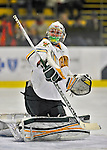 24 November 2012: University of Vermont Catamount goaltender Brody Hoffman, a Freshman from Wilkie, Saskatchewan, warms up prior to facing the University of Minnesota Golden Gophers at Gutterson Fieldhouse in Burlington, Vermont. The Catamounts fell to the Gophers 3-1 in the second game of their 2-game non-divisional weekend series. Mandatory Credit: Ed Wolfstein Photo