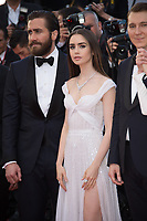 Lily Collins, Jake Gyllenhaal &amp; Paul Dano at the premiere for &quot;Okja&quot; at the 70th Festival de Cannes, Cannes, France. 19 May  2017<br /> Picture: Paul Smith/Featureflash/SilverHub 0208 004 5359 sales@silverhubmedia.com