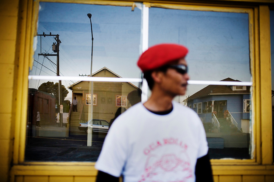 Ed Robancho, 52, of the Guardian Angels watches a house, pictured left, known for prostitution on Sonoma Blvd., in Vallejo, Ca., on Monday, April 11, 2011. Vallejo's bankruptcy and its effects on the city's senior citizens.