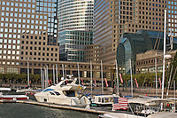 Harbor, Boats, 200 West Street, New York City, New York World Financial Center, North Cove, New York Harbor, in rear Goldman Sachs Headquarters , 200 West Street, by Harry Cobb of Pei Cobb Freed