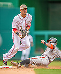 27 May 2013: Washington Nationals shortstop Ian Desmond gets Adam Jones out at second during game action against the Baltimore Orioles at Nationals Park in Washington, DC. The Orioles defeated the Nationals 6-2, taking the Memorial Day, first game of their interleague series. Mandatory Credit: Ed Wolfstein Photo *** RAW (NEF) Image File Available ***