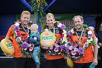 KAATSEN: PINGJUM: 07-09-2014, Jacob Wassenaar, Gert-Anne van der Bos en Daniël Iseger winnen in Pingjum, ©foto Martin de Jong