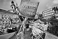 A tent camp of Spanish protesters (Los Indignados) set up on Puerta del Sol square, Madrid, Spain, 7 June 2011.