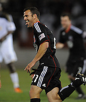 DC United defender Daniel Woolard (21) celebrates his score in 111th minute of the overtime.  DC United defeated The Philadelphia Union in penalty kicks 4-2 at TheLamar Hunt U.S. Open Cup match, at Maryland SoccerPlex, Wednesday April 6, 2011.