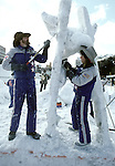 A snow sculpture team from the United States use ice picks, chisels and hatchets to turn blocks of frozen snow into detailed scupltures. These are not traditional Frosty the Snowmen, but huge carved and chiseled Samurai Warriors, Buddhists gods, historical heroes of fairy tales and Walt Disney characters. Some stand as big as buildings. Chiseled out of tons of packed snow, the sculptures are the pride and job of the residents of Sapporo, Japan, who hosts the world famous Ice and Snow Sculpture Festival for five days in early February.Themes of the sculptures are picked from Kabuki stages, historical characters or fairy tales. (Jim Bryant Photo).....