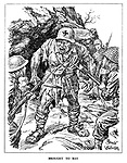 Brought to Bay. (Allied soldiers surround a barbarian Nazi soldier)