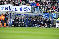 VOETBAL: HEERENVEEN: Abe Lenstra Stadion, SC Heerenveen - Vitesse, 21-01-2012, Eindstand 1-1, dug-out SC Heerenveen, wisselspelers, begeleiding, teammanager Herman van Dijk, assistent-trainer Henk Herder, hoofdtrainer Ron Jans, ©foto Martin de Jong