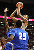 Ohio State Buckeyes forward LaQuinton Ross (10) gets fouled by Central Connecticut State Blue Devils guard Khalen Cumberlander (12) as he jumps for a basket in the second half of the college basketball game between the Ohio State Buckeyes and the Central Connecticut State Blue Devils at Value City Arena in Columbus, Saturday afternoon, December 7, 2013. The Ohio State Buckeyes defeated the Central Connecticut State Blue Devils 74 - 56. (The Columbus Dispatch / Eamon Queeney)