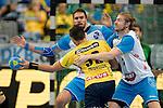 GER - Mannheim, Germany, September 23: During the DKB Handball Bundesliga match between Rhein-Neckar Loewen (yellow) and TVB 1898 Stuttgart (white) on September 23, 2015 at SAP Arena in Mannheim, Germany. Final score 31-20 (19-8) .  Alexander Petersson #32 of Rhein-Neckar Loewen, Tobias Schimmelbauer #2 of TVB 1898 Stuttgart<br /> <br /> Foto &copy; PIX-Sportfotos *** Foto ist honorarpflichtig! *** Auf Anfrage in hoeherer Qualitaet/Aufloesung. Belegexemplar erbeten. Veroeffentlichung ausschliesslich fuer journalistisch-publizistische Zwecke. For editorial use only.