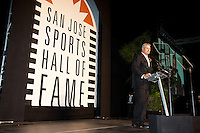 Hall of fame inductee Steve Bartkowshi speaks at the San Jose Sports Hall of Fame induction ceremony at the HP Pavilion on Nov. 14, 2012.