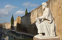 Statue of Abu al-Walid ibn Ruchd, known as Averroes, 1126-98, author of treatises on medicine, mathematics, astronomy, ethics and philosophy, by the city walls in Cordoba, Andalusia, Southern Spain. The historic centre of Cordoba is listed as a UNESCO World Heritage Site. Picture by Manuel Cohen