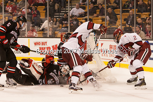 Ryan Shea (NU - 5), Ryan Ruck (NU - 41), Sean Malone (Harvard - 17), Tyler Moy (Harvard - 2) - The Harvard University Crimson defeated the Northeastern University Huskies 4-3 in the opening game of the 2017 Beanpot on Monday, February 6, 2017, at TD Garden in Boston, Massachusetts.