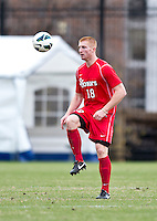 Tim Parker (18) of St. John's takes control of the ball during the game at North Kehoe Field in Washington DC. Georgetown defeated St. John's, 2-1, in the Big East conference tournament quarterfinals.