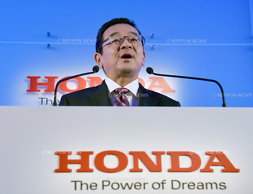 July 6, 2015, Tokyo, Japan - Takahiro Hachigo, new president and chief executive officer of Honda Motor Co., holds the first news conference after taking the helm of Japans leading automaker at its Tokyo head office on Monday, July 6, 2015. Hachigo, who joined Honda in 1982, was in charge of developing the first-generation of U.S.-built Odyssey minivan, which was launched in 1999 primarily for the U.S. market.  (Photo by Natsuki Sakai/AFLO) AYF -mis-