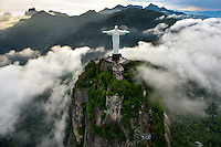 View from helicopter. Christ the Redeemer statue.