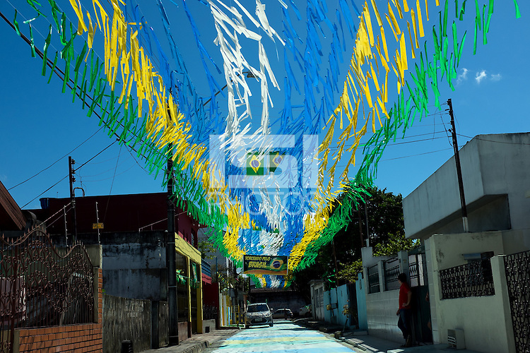 Colour shot - Coloured ribbons decorating the street in Manaus