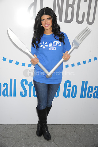 """Teresa Giuidice promotes """"Healthy at NBCU"""" initiative's third annual """"Healthy Week"""" observance at Unions Square in New York City. October 11, 2012.. Credit: Dennis Van Tine/MediaPunch"""