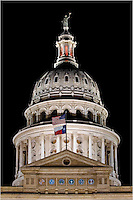 With a 200mm zoom, I took this shot of the dome of the Texas State Capitol. It was dark outside and the building was lit up with floodlights - a beautiful sight in the city of Austin.