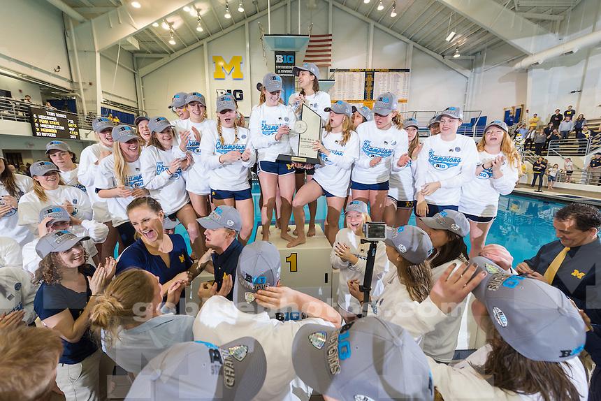 The University of Michigan women's swim and dive team 1,361point victory,winning the 2016 Big Ten Championships at Canham Natatorium in Ann Arbor,MI. on Feb. 20 2016.
