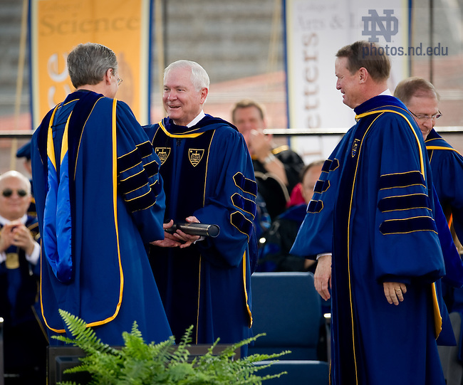 May 22, 2011; U.S. Secretary of Defense Robert Gates receives an honorary doctor of laws degree at the 2011 Commencement ceremony...Photo by Matt Cashore/University of Notre Dame