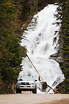 rushing water over skalkaho waterfalls in the sapphire mountains of western montana