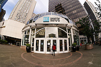 Fisheye view of the domed entrance to Pacific Centre shipping mall in downtown Vancouver, BC, Canada