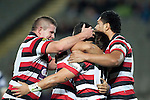 Grant Henson,Reynold Lee-Lo and Fritz Lee congratulate Sherwin Stowers on the scoring of his try.  ITM Cup Round 7 rugby game between Auckland and Counties Manukau, played at Eden Park, Auckland on Thursday August 11th..Auckland won 25 - 22.