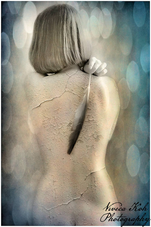 Textured photo of nude woman
