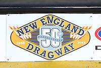 Jun 3, 2016; Epping , NH, USA; Detailed view of a New England Dragway logo during NHRA qualifying for the New England Nationals. Mandatory Credit: Mark J. Rebilas-USA TODAY Sports