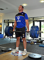 Henry Thomas in the gym. Bath Rugby pre-season training on July 21, 2015 at Farleigh House in Bath, England. Photo by: Patrick Khachfe / Onside Images