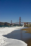 San Francisco: Baker Beach with Golden Gate Bridge in background.  Photo # 2-casanf83363.  Photo copyright Lee Foster