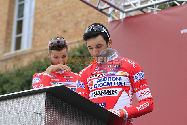 Androni Giocattoli team at sign on before the start of the 2017 Strade Bianche running 175km from Siena to Siena, Tuscany, Italy 4th March 2017.<br /> Picture: Eoin Clarke | Newsfile<br /> <br /> <br /> All photos usage must carry mandatory copyright credit (&copy; Newsfile | Eoin Clarke)