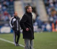 Philadelphia Union head coach John Hackworth watches from the sideline during the game at PPL Park in Chester, PA.  Kansas City defeated Philadelphia, 3-1.