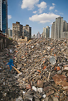 Rubble from demolished buildings, Shanghai, China