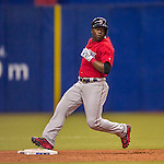 2 April 2016: Boston Red Sox outfielder Rusney Castillo in action during a pre-season exhibition game against the Toronto Blue Jays at Olympic Stadium in Montreal, Quebec, Canada. The Red Sox defeated the Blue Jays 7-4 in the second of two MLB weekend games, which saw a two-game series attendance of 106,102 at the former home on the Montreal Expos. Mandatory Credit: Ed Wolfstein Photo *** RAW (NEF) Image File Available ***