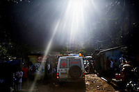 An ambulance on its way to pick up a patient in Freetown.